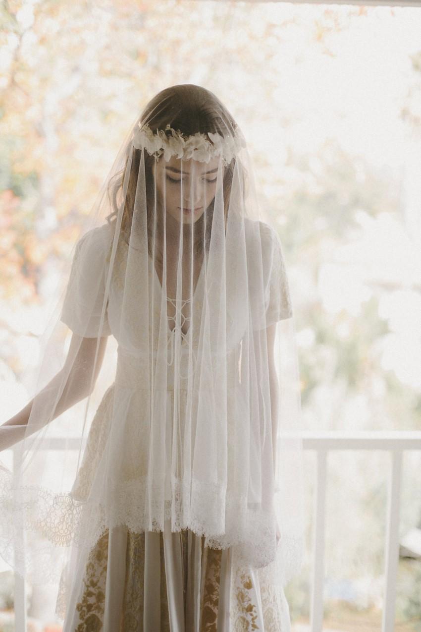 Romantic Bridal Flower Crown & Veil from Erica Elizabeth Designs