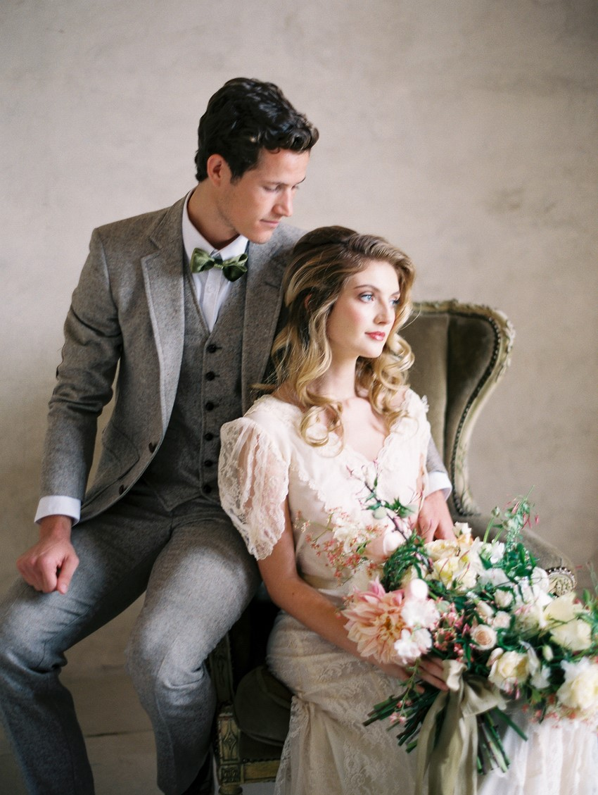Romantic Vintage Inspired Bride & Groom // Photography ~ Rachel Solomon Photography