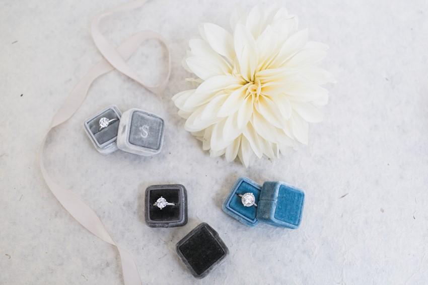 Diamond Engagement Rings in Vintage Velvet Ring Boxes // Photography ~ Alexis June Weddings