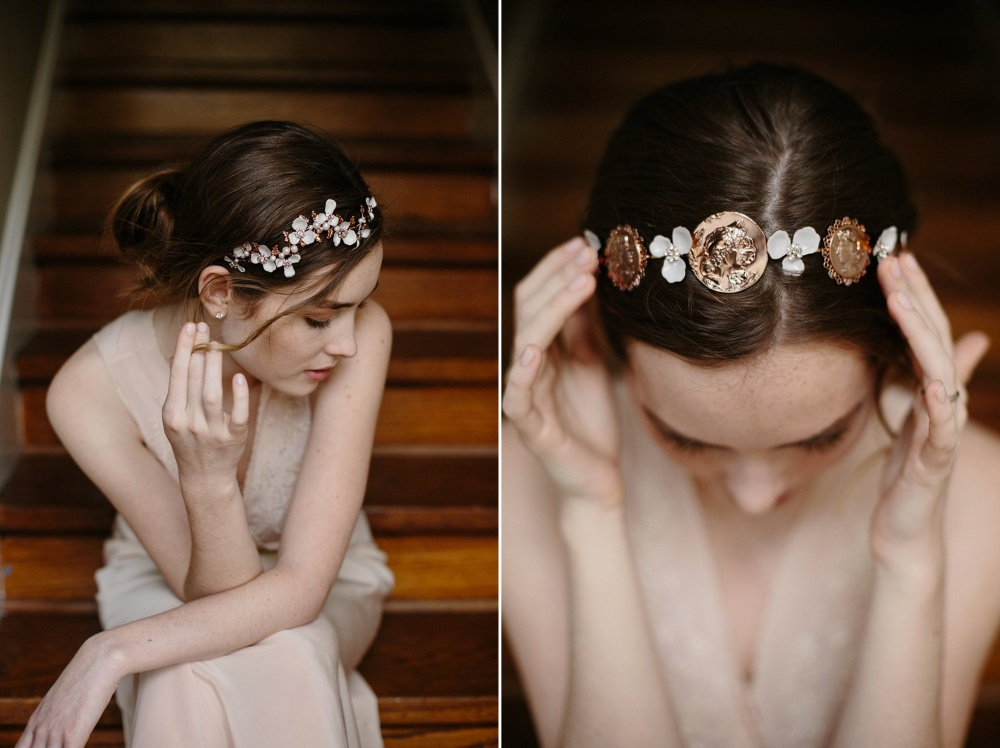 Rose Gold Bridal Headpieces from Erica Elizabeth Designs