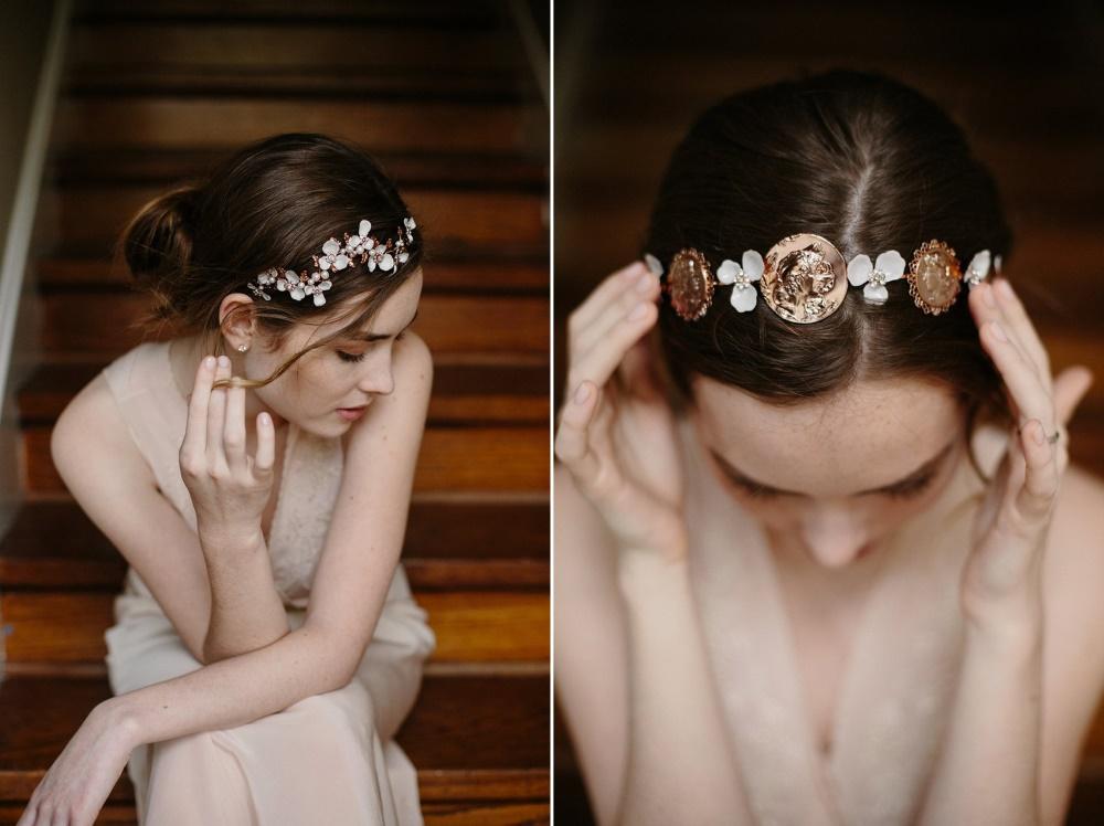 Rose Gold Bridal Headpieces from Erica Elizabeth Designs