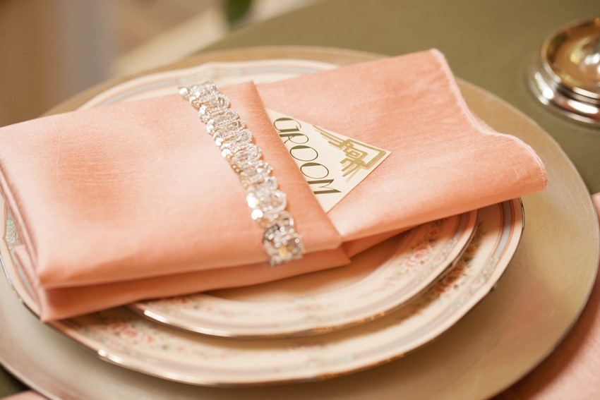 Pink Art Deco Wedding Place Setting
