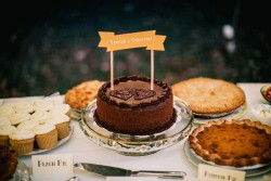 Chocolate Wedding Cake & Autumn Wedding Dessert Table // Photography ~ Emily Wren Photography
