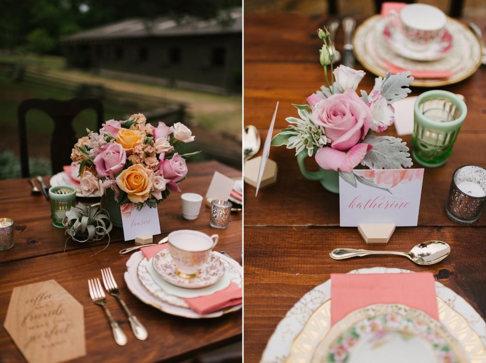 Bridal Shower Floral Centrepiece & Name Card