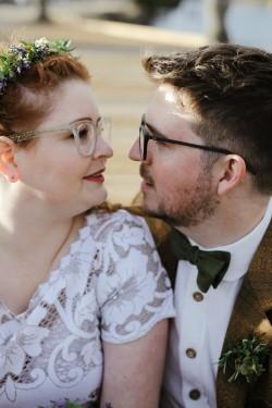 Bride & Groom wearing Glasses