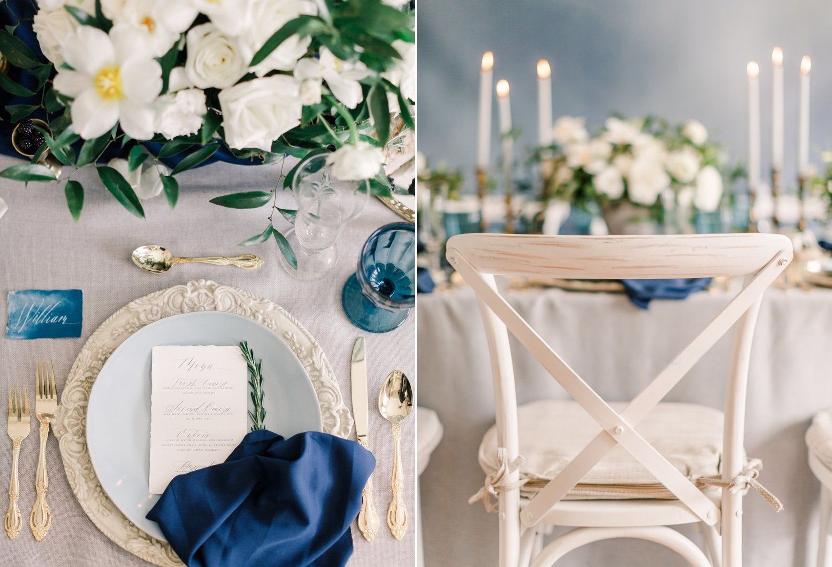 Romantic Modern Vintage Serenity Blue Wedding Place Setting // Photography ~ Artiese Studios