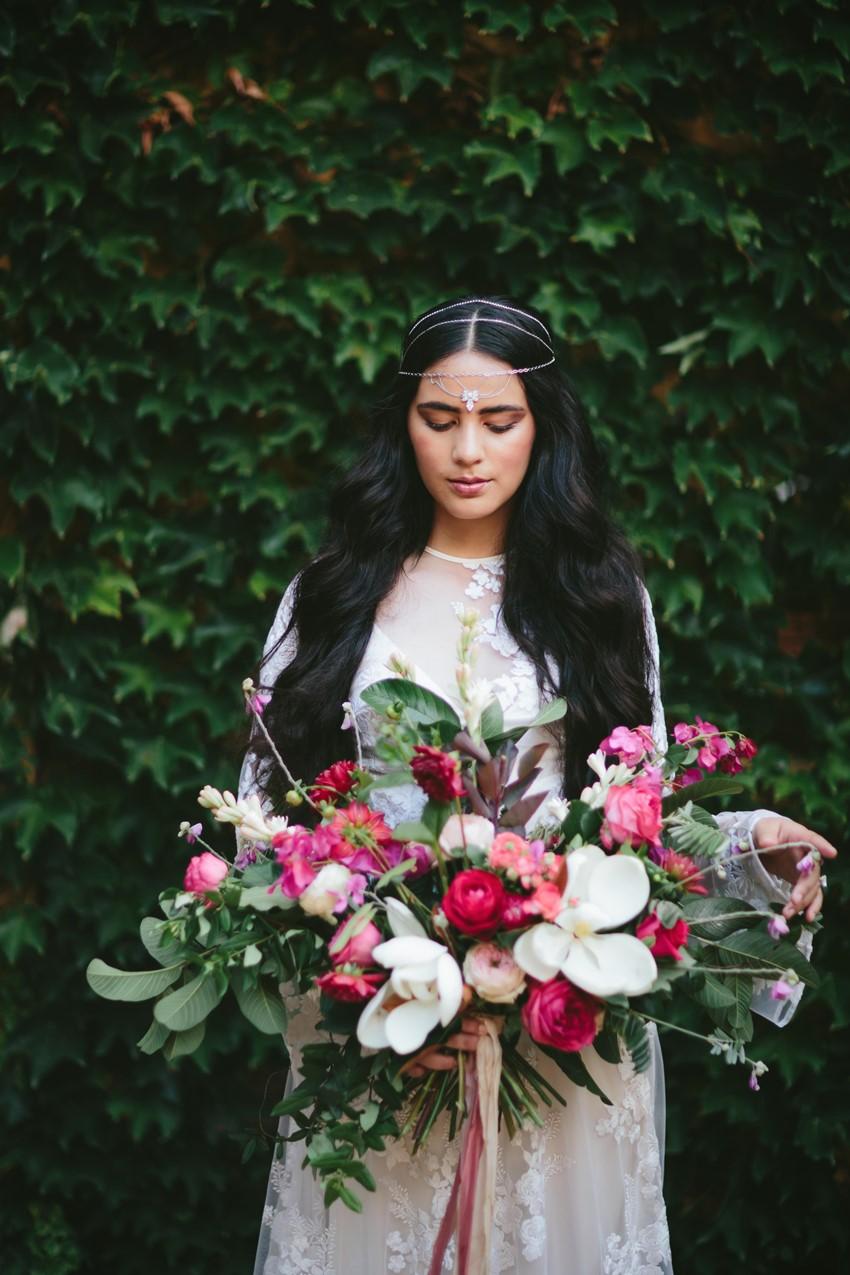Boho Bride & Lush Bridal Bouquet // Photography ~ White Images