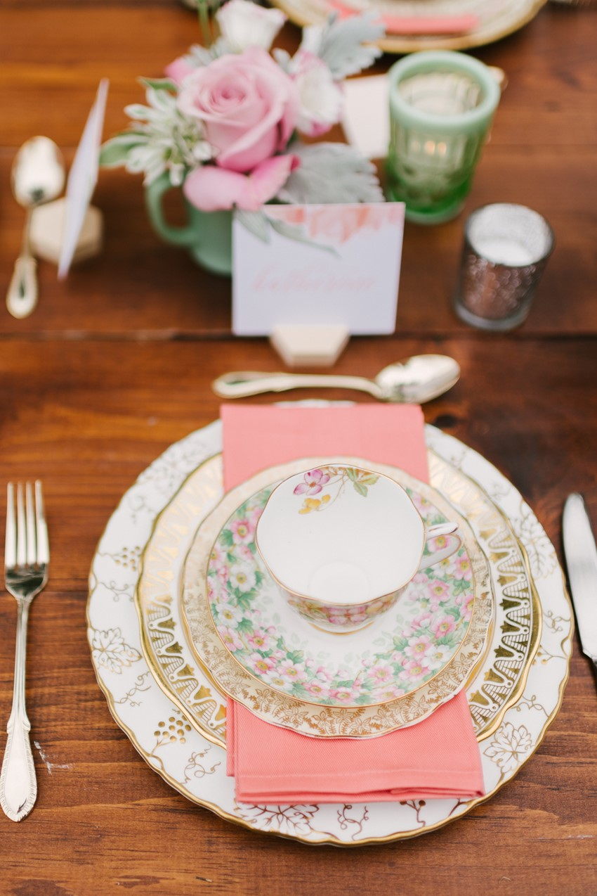 Vintage China Bridal Shower Place Setting