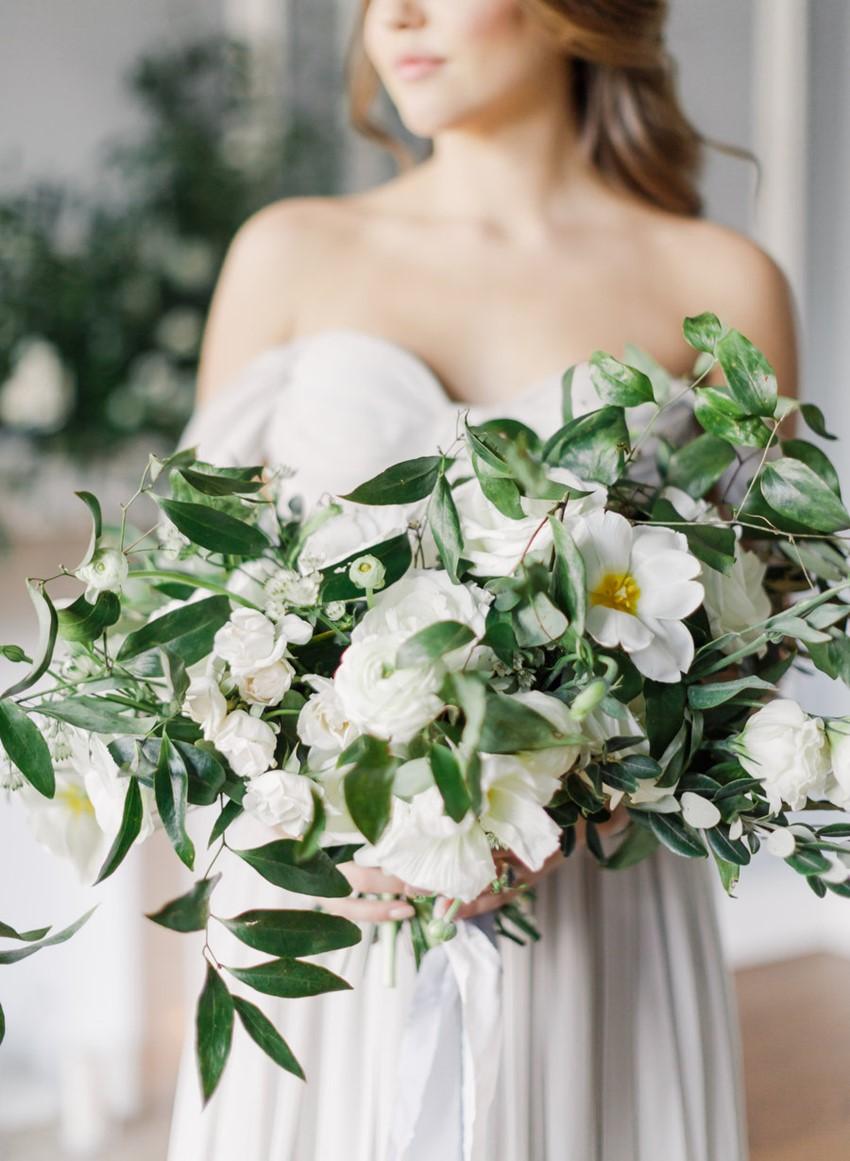 White Modern Vintage Bridal Bouquet // Photography ~ Artiese Studios