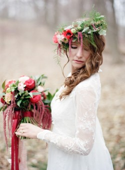 Fresh Flower Bridal Crown in Beautiful Red // Photography ~ Kurtz Orpia Photography