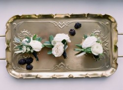 White Floral Boutonnieres // Photography ~ Artiese Studios