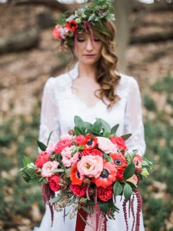 Red Bouquet & Flower Crown // Photography ~ Kurtz Orpia Photography