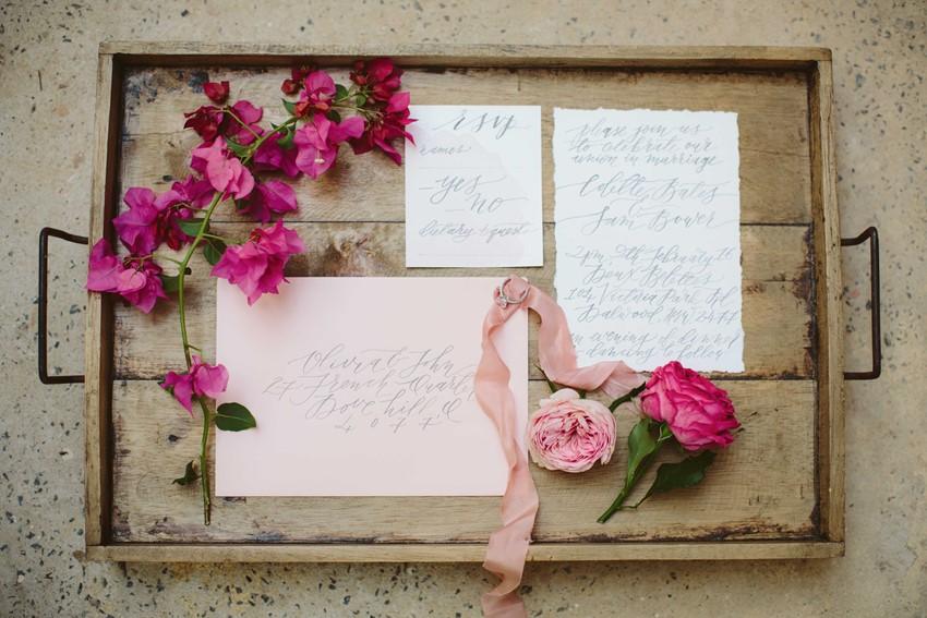 Modern Vintage Calligraphy Wedding Stationery //Photography ~ White Images