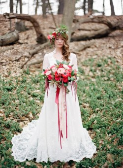 Beautiful Red Bridal Bouquet & Flower Crown // Photography ~ Kurtz Orpia Photography
