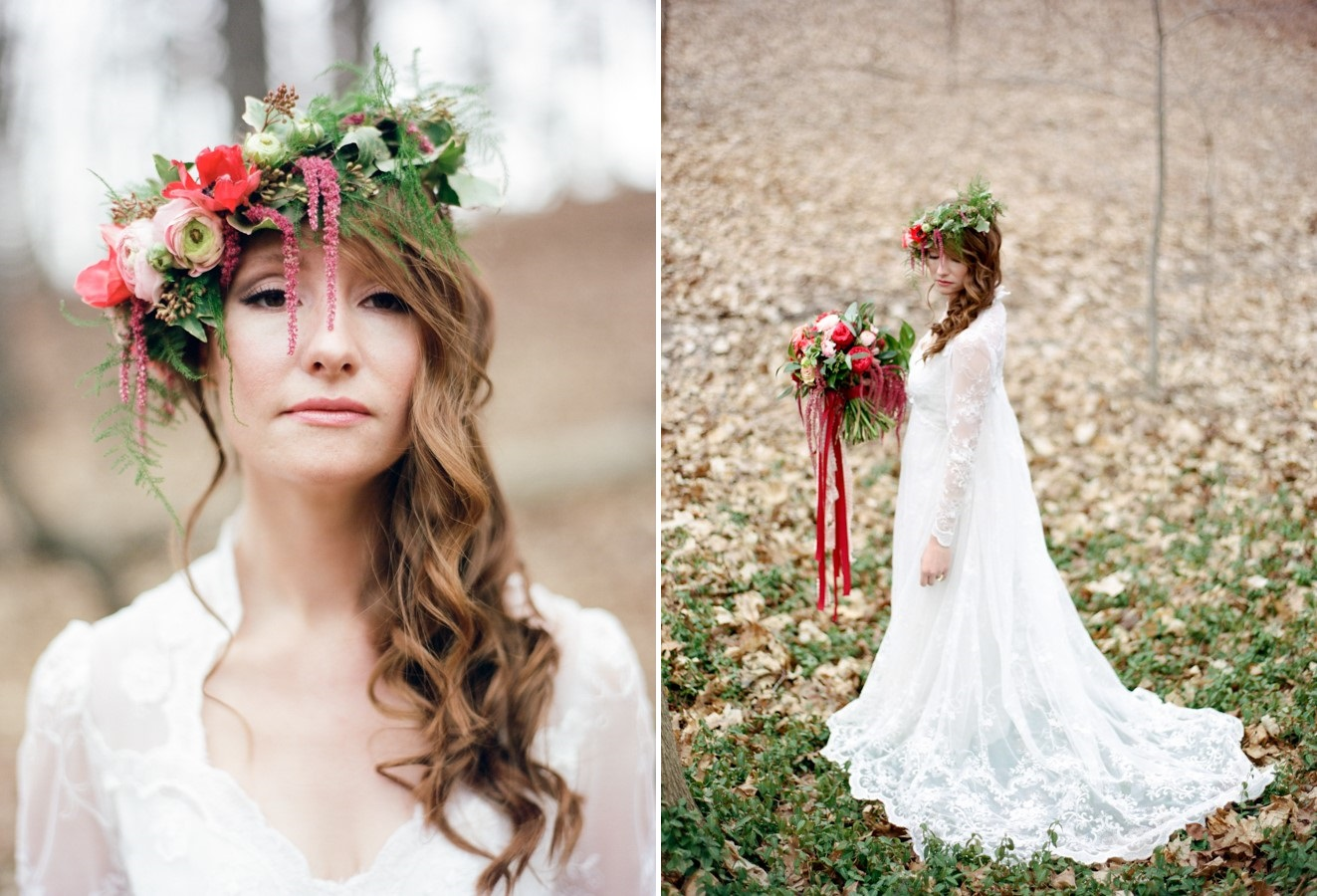 A Long Sleeved Wedding Dress for a Woodland Bride // Photography ~ Kurtz Orpia Photography