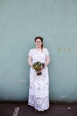 Boho Vintage Bride in a Lace Wedding Dress