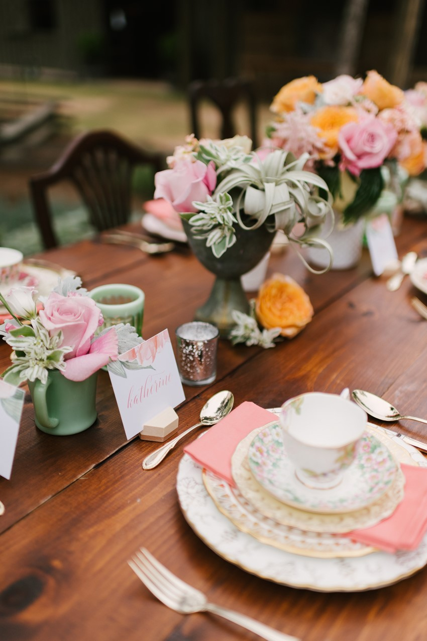 Vintage High Tea Bridal Shower Tablescape