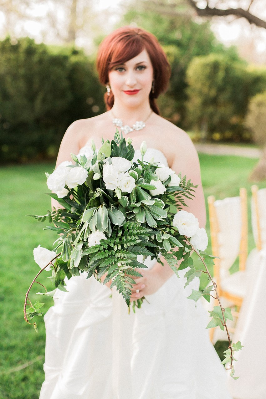 Chic White & Green Bridal Bouquet // Photography ~ Sharmila Photography