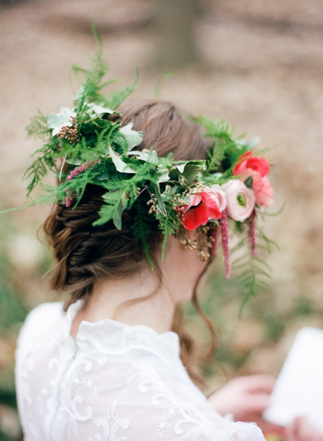 Red Bridal Flower Crown // Photography ~ Kurtz Orpia Photography