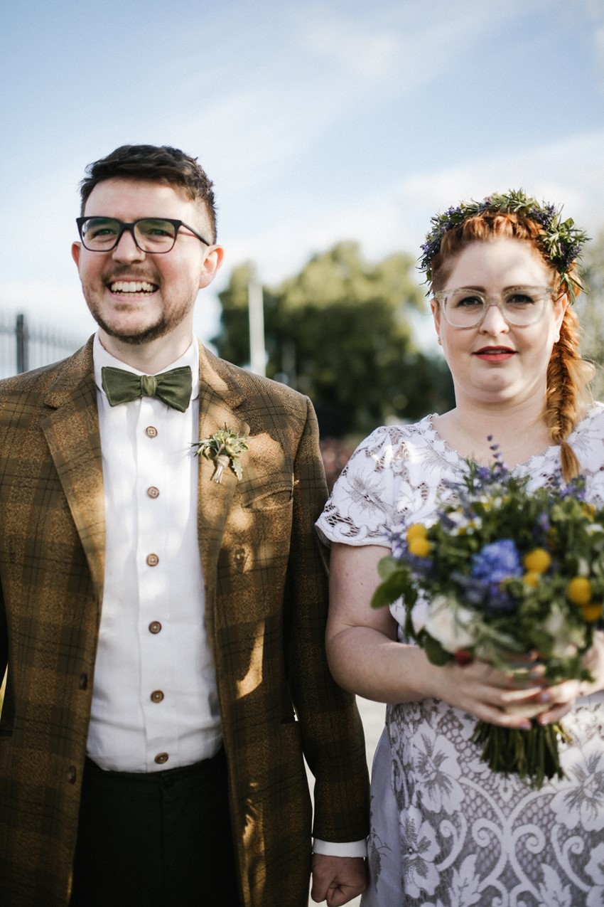 Bride & Groom wearing Glasses