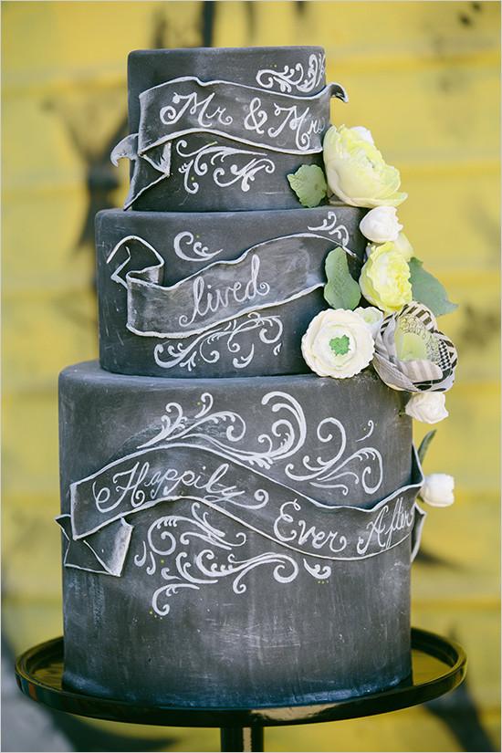 Chalkboard Black Wedding Cake
