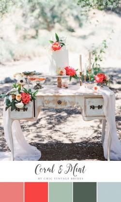 Coral & Mint Wedding Colour Palette