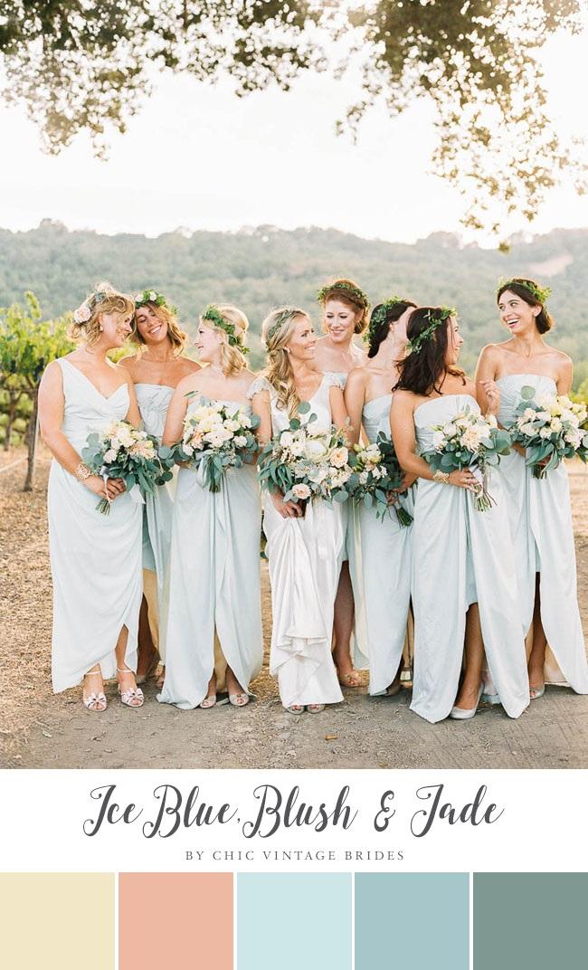 Ice Blue, Blush & Jade Summer Wedding Colour Palette