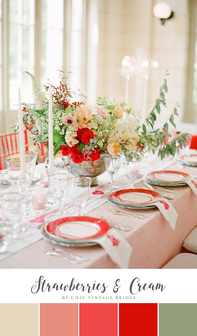 Strawberries & Cream Summer Wedding Colour Palette