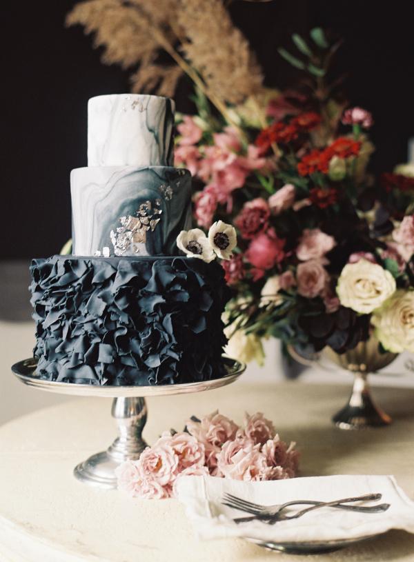 Watercolour Black Wedding Cake