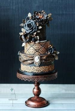 Incredible Gothic Black Wedding Cake