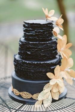 Ruffled Black Wedding Cake