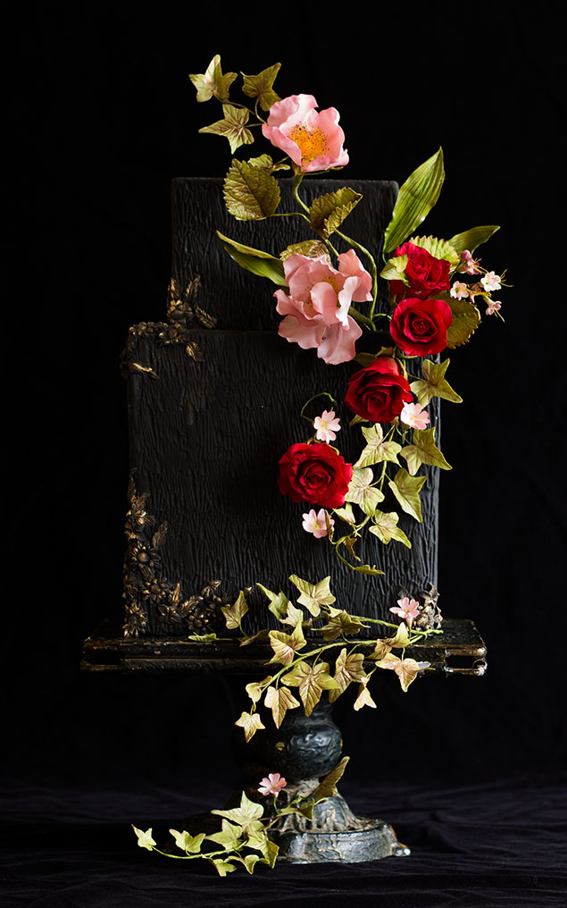 Square Black Wedding Cake