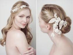 Fiona Hair Ribbon & Eugenia Bridal Hair Comb from Yelena Accessories