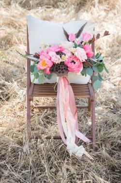 Pink Boho Vintage Bridal Bouquet