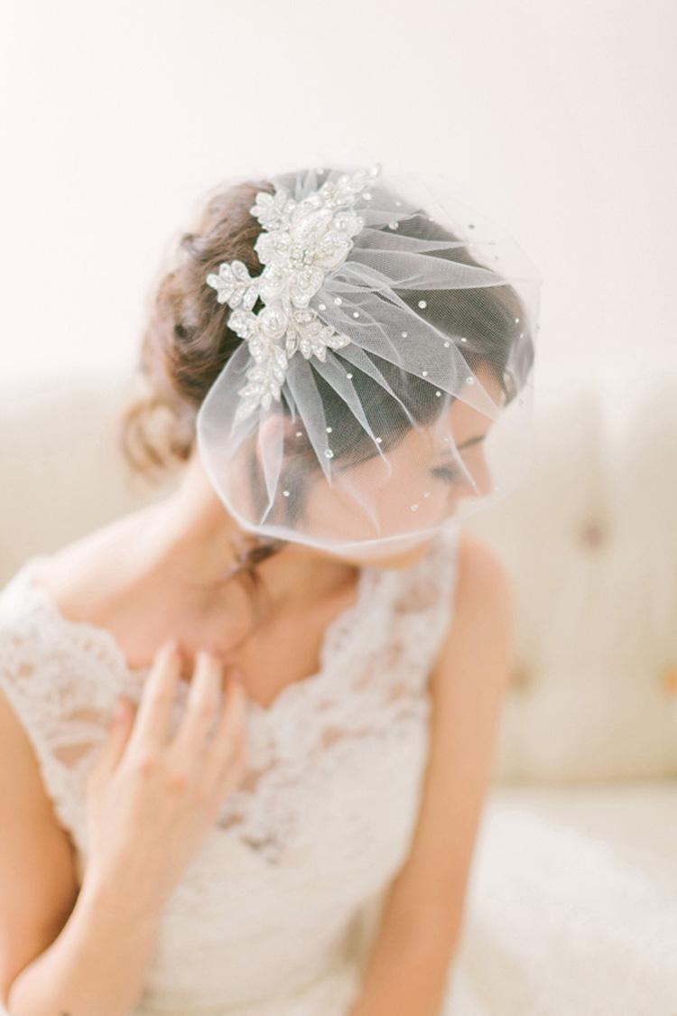 Crystal Lace Birdcage Veil 718 Chic Vintage Brides