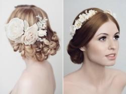 Rosalie Bridal Hair Comb & Valentia Headdress from Yelena Accessories