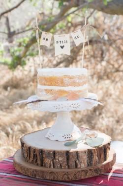 Vintage Boho Wedding Anniversary Cake
