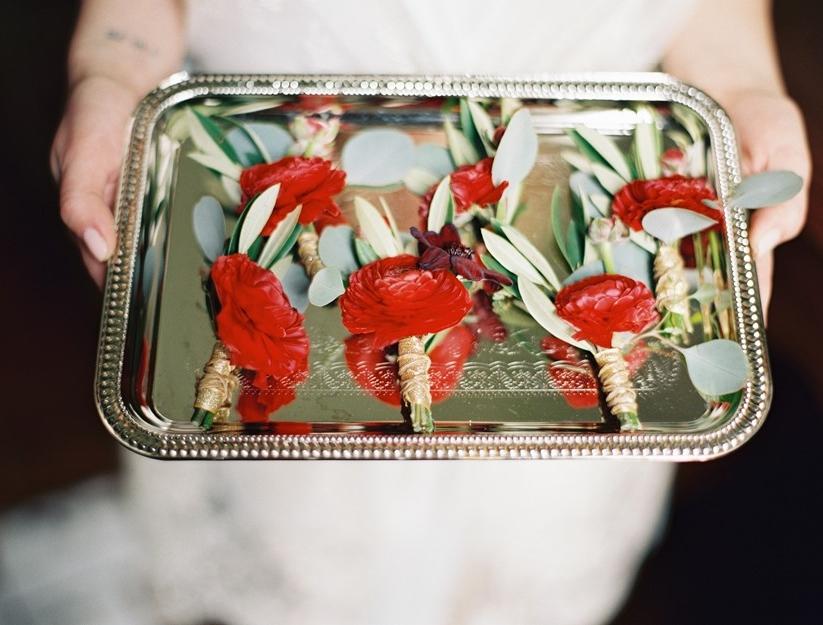 Red Boutonnieres // Photography ~ Marissa Lambert Photography