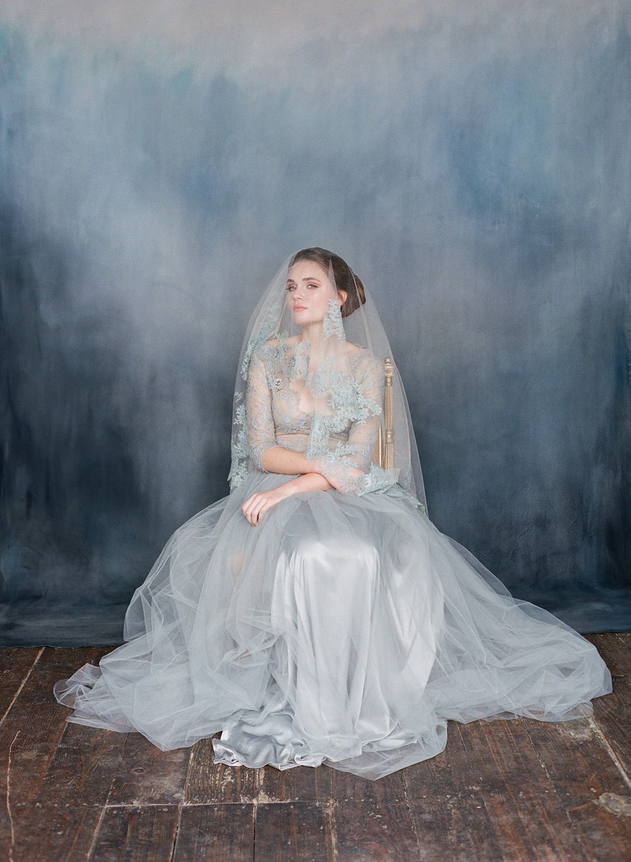 Nightingale - Heavenly Blue Lace Sleeve Wedding Dress