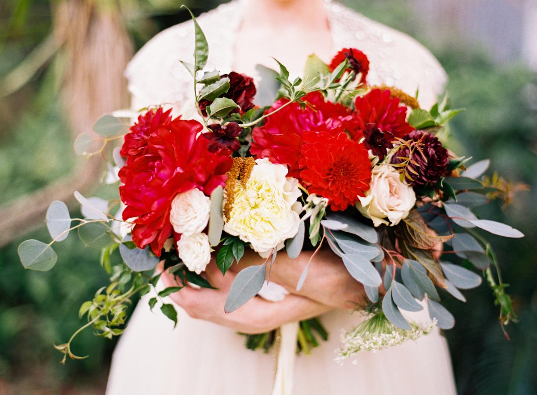 Stunning Red Bridal Bouquet // Photography ~ Marissa Lambert Photography