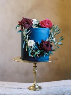 Blue Single Tier Wedding Cake