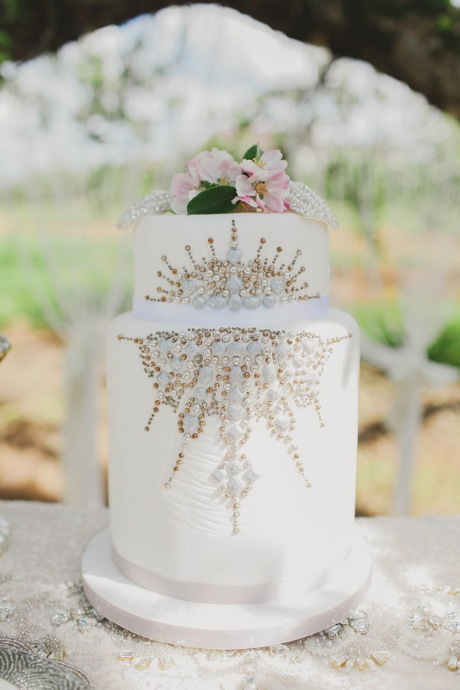 Sparkly Tall Wedding Cake