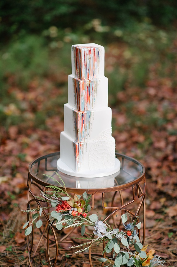 Boho Watercolour Square Wedding Cake