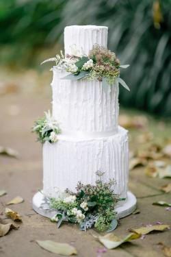 Textured White Tall Wedding Cake