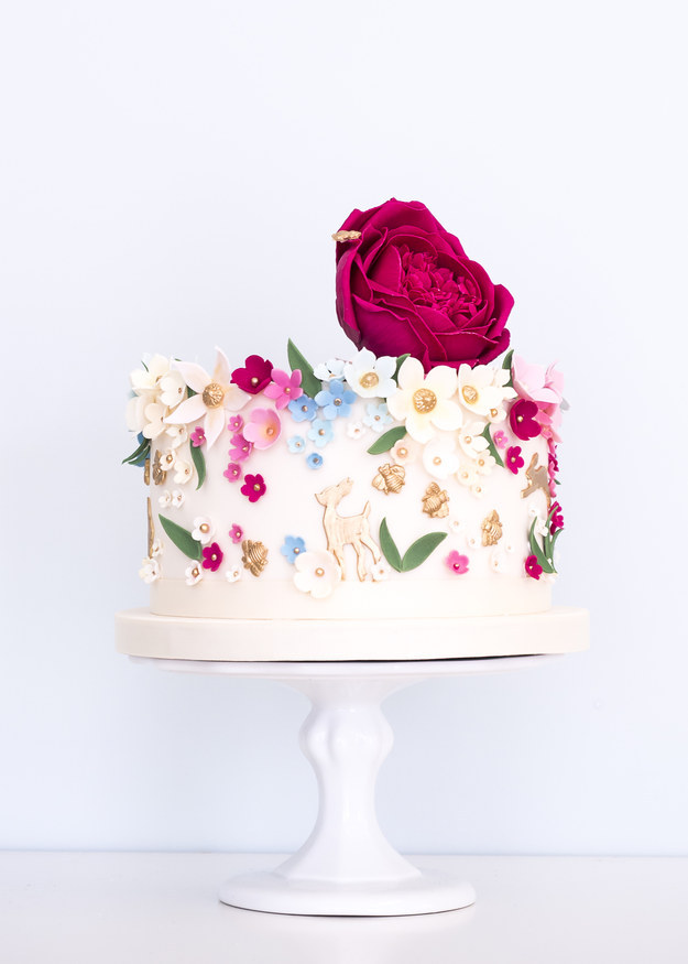 Floral Single Tier Wedding Cake