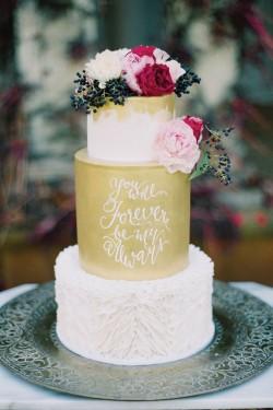 Gold Fondant Handpainted Quote Wedding Cake