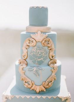 Jade& Gold Tall Wedding Cake