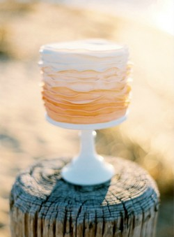 Ombre Ruffles Single Tier Wedding Cake