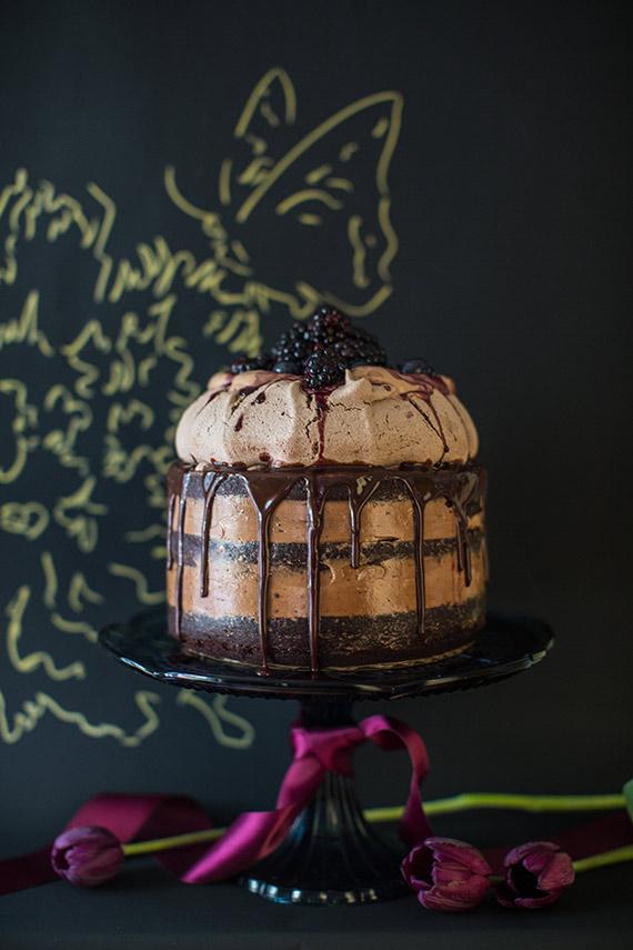 Semi Naked Chocolate Meringue Single Tier Wedding Cake