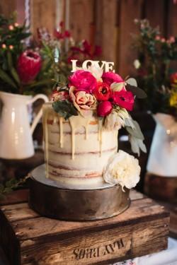 Semi Naked Tall Single Tier Wedding Cake